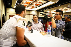 The Orlando Sentinel's Paul Tenorio and Sean Pitts interview UCF quarterback Blake Bortles (5) during the Tostitos Fiesta Bowl media day at the JW Marriott Scottsdale Camelback Inn Resort & Spa in Scottsdale, AZ. on Monday, December 30, 2013. (Joshua C. CrueyOrlando Sentinel)