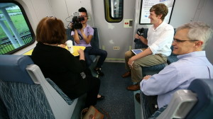 Behind the scenes photo of our livestream on SunRail's opening day.