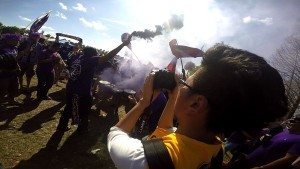 Sean Pitts filming Orlando City Soccer Club tailgate