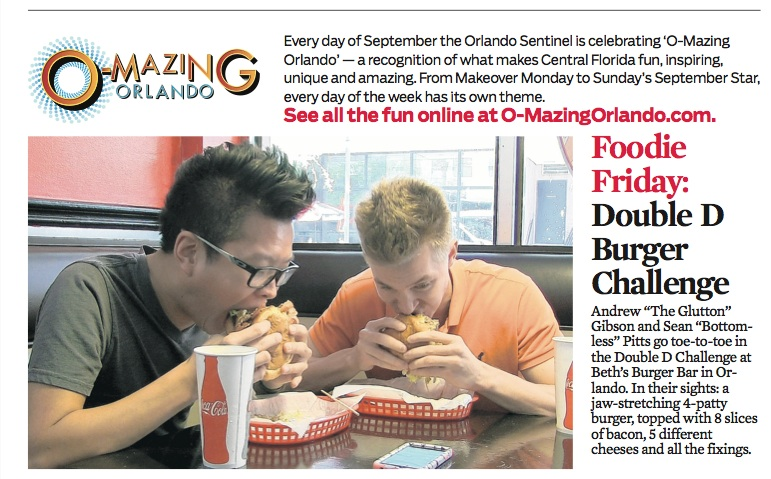 Clipping from Orlando Sentinel of Sean Pitts and Andrew Gibson taking on the Double D Challenge at Beth's Burger Bar.