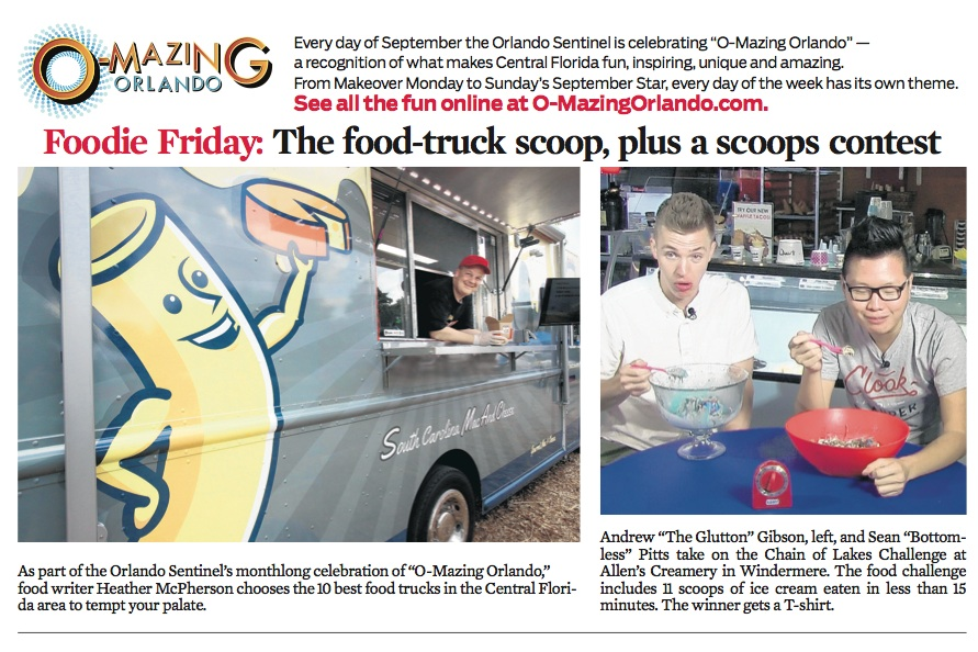 Clipping from Orlando Sentinel of Sean Pitts and Andrew Gibson taking on Allen's Creamery 11 scoops of ice cream challenge in less than 15 minutes.