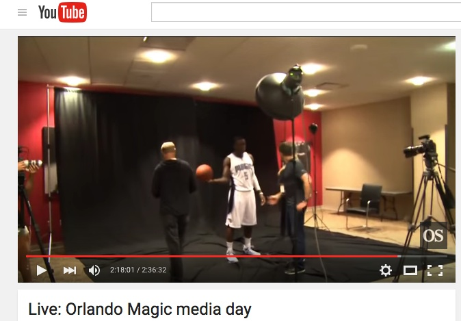 Victor Oladipo behind the scenes during Orlando Sentinel livestream of Magic media day.
