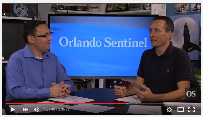 Charles King and J.C. Carnahan in the Orlando Sentinel studio during Orlando Magic media day.