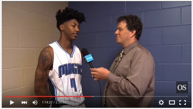 Brant Parsons interviews Elfrid Peyton during Orlando Sentinel's live Magic media day coverage.