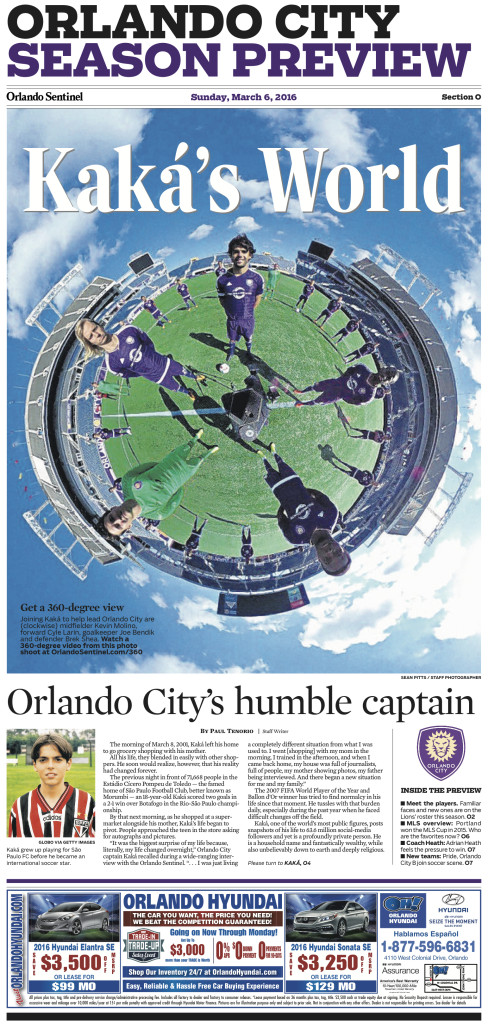 Front page of Orlando Sentinel's special Orlando City Season Preview.