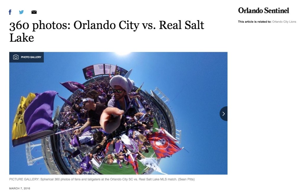 Orlando City SC fans photographed by 360 camera.